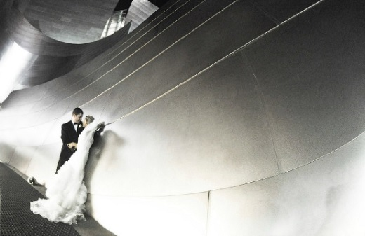 Black and white still of a wedding couple by Shirock Photography.