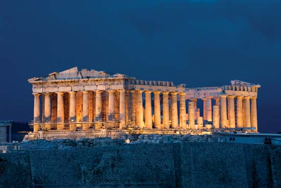 Parthenon in Greece Night Time